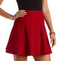 Textured Skater Skirt by Charlotte Russe - Red