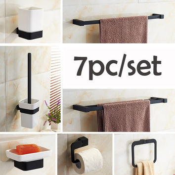 Oil Rubbed Bronze Black Bathroom Accessory Set 7pc Rowel Bar Toilet Brush Rack Towel Ring Paper Rack