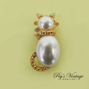 Antique/Vintage Faux Pearl Cat Pin,  Rhinestone Kitty - Cat Brooch/Pin