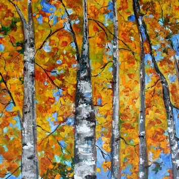 Large Original oil painting FALL BIRCH TREES by Karensfineart