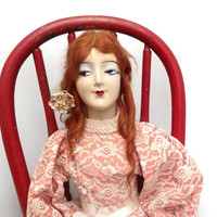 Vintage Boudoir Doll with red mohair and cloth body Composition doll from the 1920 s