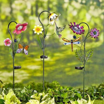 Garden Stakes Flower Stained Glass Solar Hummingbird Dragonfly Butterfly Lawn