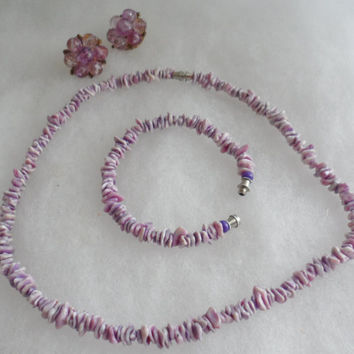 1960s LILAC PUKA SHELL Costume Jewelry Set - From Philippines - Surfer Choker and Bracelet Set - Choice of Earrings to Match - Retro Jewelry