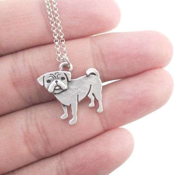 Baby Pug Puppy Shaped Charm Necklace in Silver