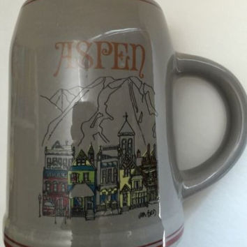 Vintage Jim Ford Mug ASPEN Collectible Ceramic Beer Stein Tankard Mug Ski Resort