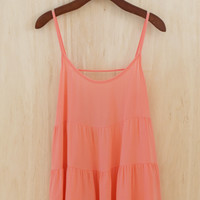 Twirl in the Sun Ruffle Tank, Coral