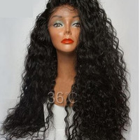 180 Density Long Kinky Curly Glueless Virgin Peruvian Deep Human Hair Wig With Baby Hair