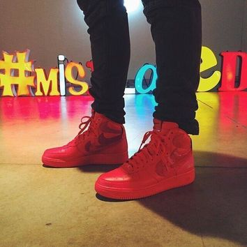 hcxx Nike Air Force I ''Misplaced Checks'' All Red