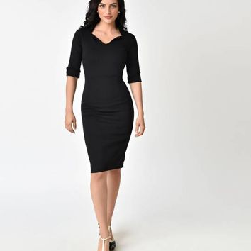 Black Three-Quarter Length Sleeve Collared Wiggle Dress