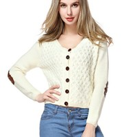 TopStyliShop Women's Buttons Front Round Neck Cardigan with Round Elbow Patches S1030