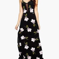 Black Floral Print Sleeveless Strappy Back with Side Slit Maxi Dress