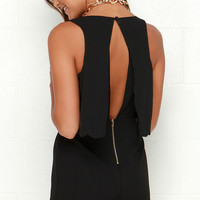 Ahead of the Curves Scalloped Black Romper