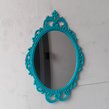 Turquoise Wall Mirror in Hand Painted Vintage Metal Frame - 17 by 12 Inches