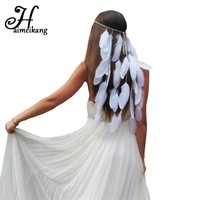Haimeikang New Feather Headband Women Festival Feather Headband Bridal Wedding Hair Band Headdress Halloween Hair Accessories