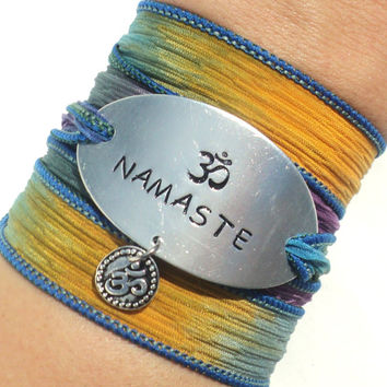 Wrap Bracelet, Silk Wrap, Namaste Bracelet, Om Bracelet, Yoga Jewelry, Hippie Bracelet, Christmas, Stocking Stuffer, Gift For Her, Arm Band