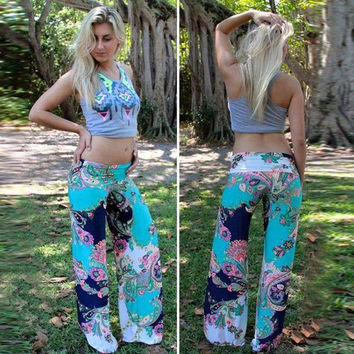 Womens Casual Floral Print Pants A32
