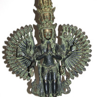 LARGE RARE Ornate Antique Tibet Tibetan Budda Bronze Buddha Statue Many Hands Heads