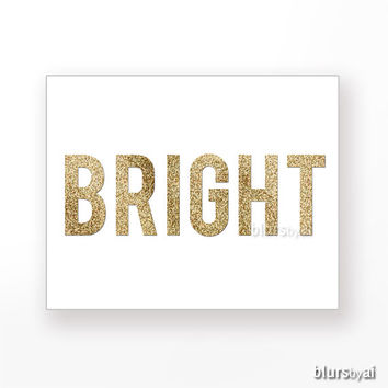 "Gold Christmas printable "" Bright "" gold glitter typography, gold text, gold word, gold wall art, golden glitter holiday decor, pdf -pp93"