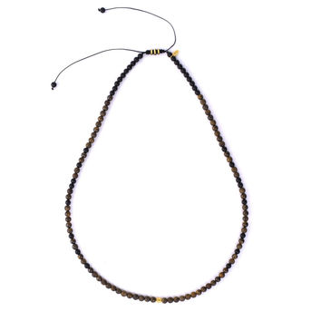 18 K Gold - Bronzite and matte Onyx stone macrame necklace (KN12)