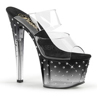 Rhinestone Studded Double Strap Vamp Stripper Shoes