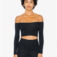 Cotton Spandex Long Sleeve Off-Shoulder Top | American Apparel