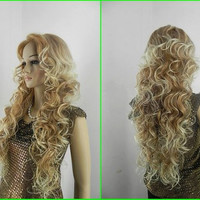 Savannah // Long Highlighted Blonde Curly Wig Synthetic Hair