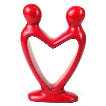 Handcrafted Soapstone Lover's Heart African Art Sculpture Red