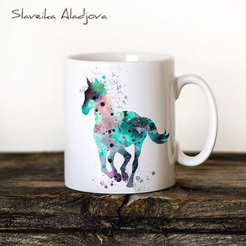 Horse Mug Watercolor Ceramic Mug Unique Gift Bird Coffee Mug Animal Mug Tea Cup Art Illustration Cool Kitchen Art Printed Horse