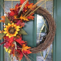 Autumn Wreath - Fall Wreath - Fall Front Door Wreaths - Sunflower Wreath - Fall Indoor Wreath - Autumn Front Door Wreath - Wreaths for Fall