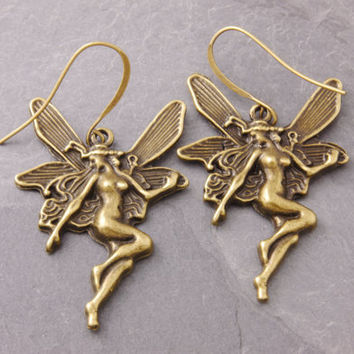 Fairy Earrings, fairy angel, angel earrings, flying fairy, fairy jewelry, angel jewelry, holiday sale, black friday sale, cyber monday sale