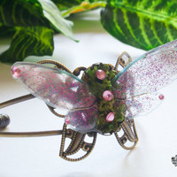 Pink fairy wings butterfly cuff bracelet. Fake moss jewelry. Forest fairy. Nature inspired.