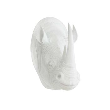 The Large Serengeti White Faux Taxidermy Resin Rhino Head Wall Mount | White Rhinoceros w/ Colored Horns