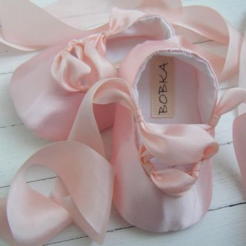 Pink Ballet Shoes, Baby Girl Ballet Shoes, Flats,Flower Girl Shoes, Toddler Ballet Flat, Bobka Shoes by BobkaBaby
