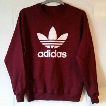 DCCKHB0 Adidas Burgundy Fashion Casual Long Sleeve Sport Top Sweater Pullover Sweatshirt