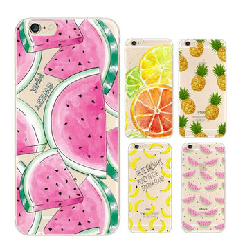 Fruit Pineapple Banana Soft Silicon Transparent Thin Gel Case Minnie Coque For Apple iPhone 7 7 Plus 4 4S 5 5S SE 5C 6 6S Plus