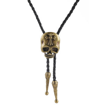 new punk men jewelry statement necklaces & pendants,leather long rope skull head bolo tie collares necklace women