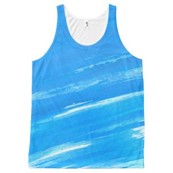 Blue Strokes All-Over Print Tank Top