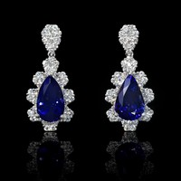 2.53ct Diamond and Tanzanite 18k White Gold Dangle Earrings