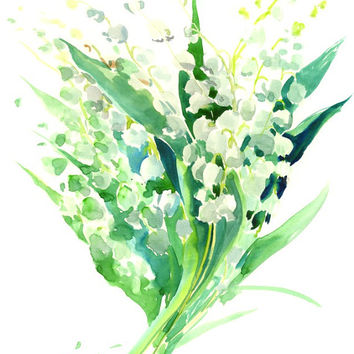 Lilies of the Valley, Original watercolor painting, 14 X 11 in, white lforal watercolor art