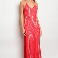 112-3-3-D15660 RED CREAM DRESS 2-2-2