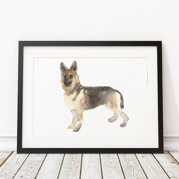 Cute nursery art German shepherd print Watercolor dog poster ACW70