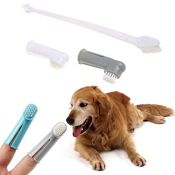 3Pcs/set Pet Dog Cat Oral Clean Finger Toothbrush + Double Plastic Head Brush Puppy Dental Tooth Health Care Cleaning Supplies