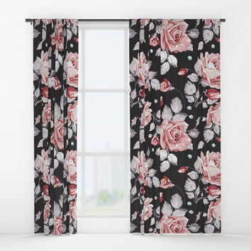 Vintage Pink Rose Flowers Window Curtains by Smyrna