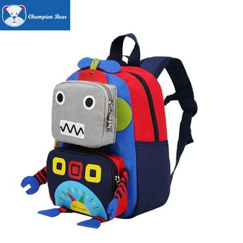 Toddler Backpack class 2017 Toddler Anti Lost Backpacks Baby Boys Girls Cartoon Machine Robot Toys Bag Kids Waterproof Oxford Cotton Back To School Bag AT_50_3