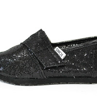 Toms Toddler Tiny Classics Black Glitter Casual Shoes