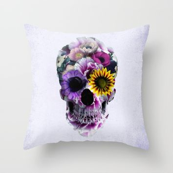 Floral Skull Throw Pillow by RIZA PEKER