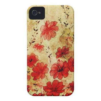 Red Grunge Floral iPhone 4 Iphone 4 Case-mate Case from Zazzle.com
