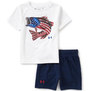 Under Armour Baby Boys 12-24 Months Americana Fish Flag Tee & Solid Shorts Set | Dillards