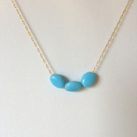 5 Bridesmaids Necklaces - Robins blue bead - 14k gold silky barely there chain - bride, bridal party, wedding