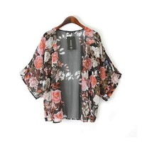 Vovotrade(TM) 1PC Floral Loose Shawl Kimono Boho Chiffon Cardigan Coat Jacket (M)